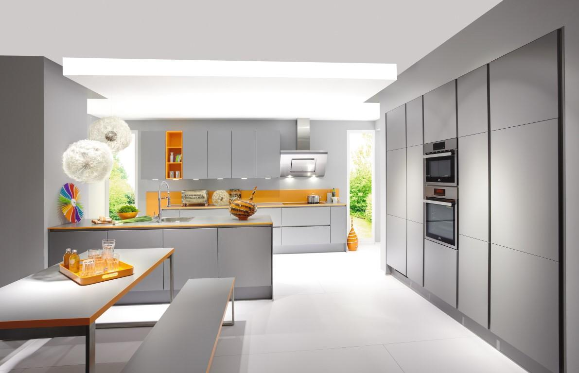 Modern Glossy Gray And White Style Kitchen
